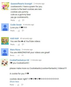 Sweet cookie fan youtube comments cookieswirlc